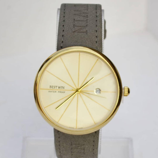 Bestwin Golden Men's Watch With Leather Belt