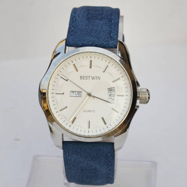 Bestwin White Men's Watch With Blue Belt