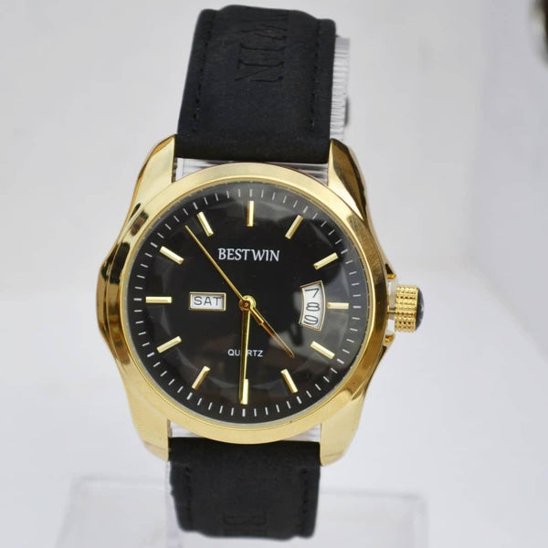Bestwin Golden Men's Watch With Black Leather Belt