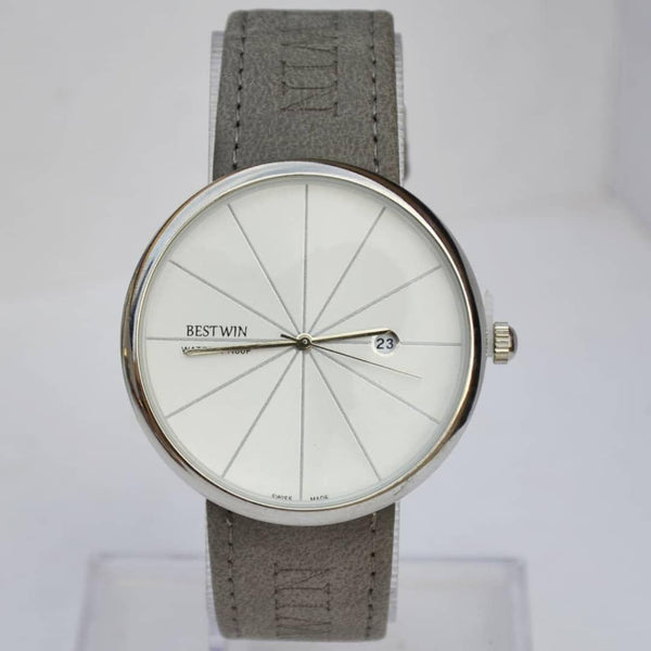 Bestwin White Men's Watch With Grey Belt