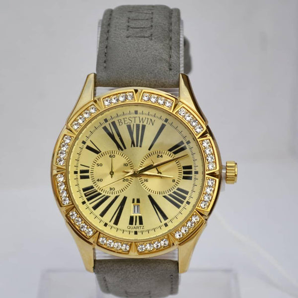 Bestwin Gold Men's Watch With Stone