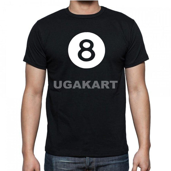 8 Black Men's Round Neck T-Shirt