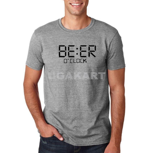 Beer O'Clock Grey Men'S Round Neck T-Shirt