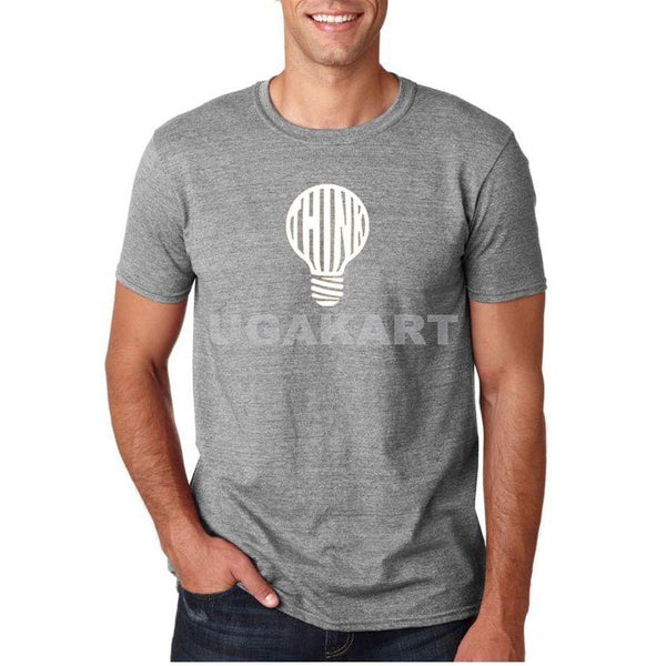 Bulb Grey Men'S Round Neck T-Shirt
