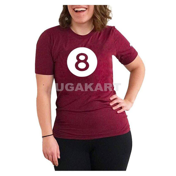 8 Maroon Ladies Round Neck T-Shirt