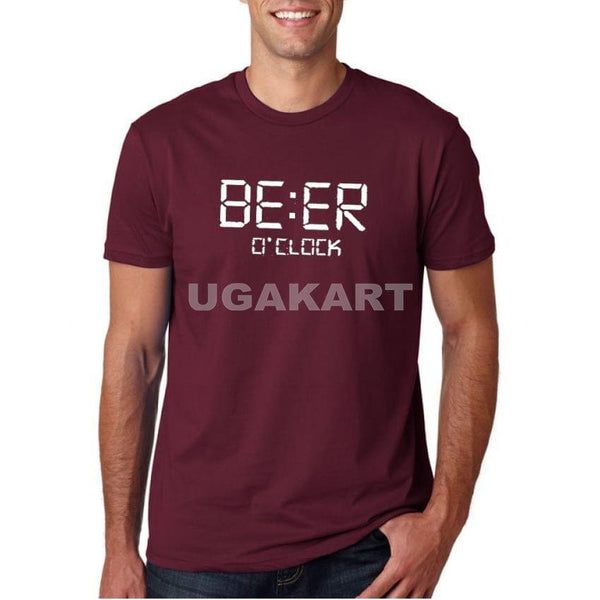 Beer O'clock Maroon Men's Round Neck T-Shirt