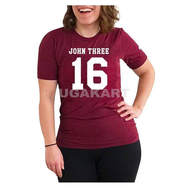 John Three 16 Maroon Ladies Round Neck T-Shirt