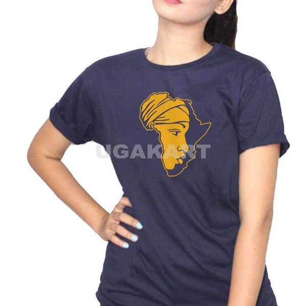 Africa Navy Blue Ladies Round Neck T-Shirt