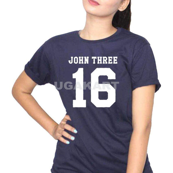 John Three 16 Navy Blue Ladies Round Neck T-Shirt
