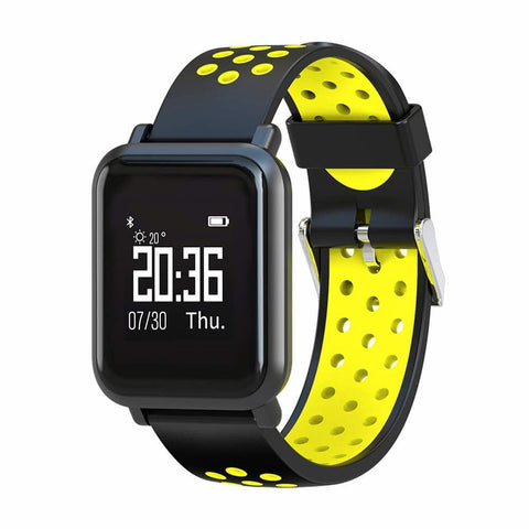 Black And Yellow Square Model Smart Digital Fitness Watch