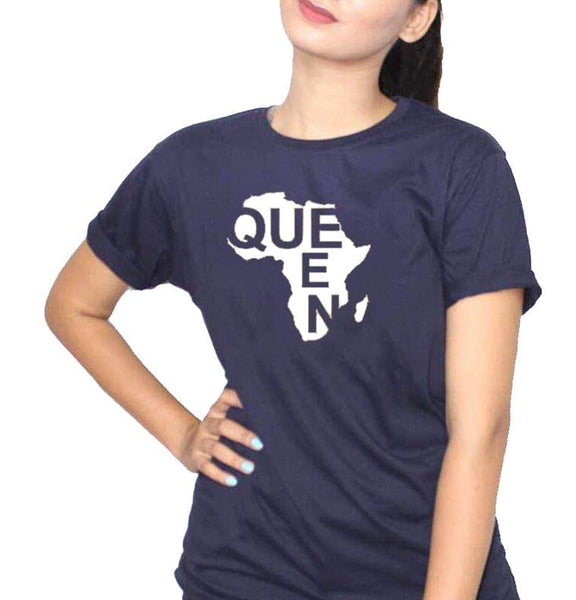African Queen Navy Blue Women's T-Shirt