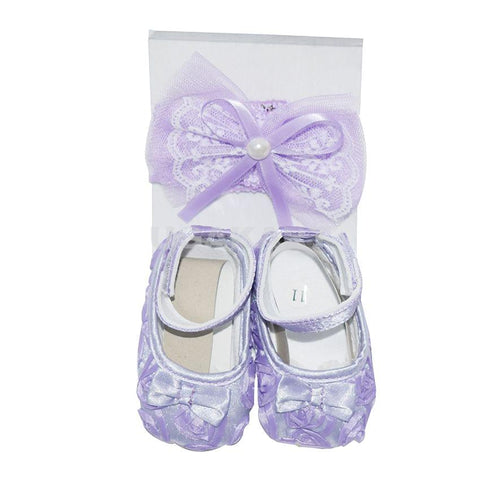 A Pair Of Purple Kids Shoes With Hair Band (New Born)