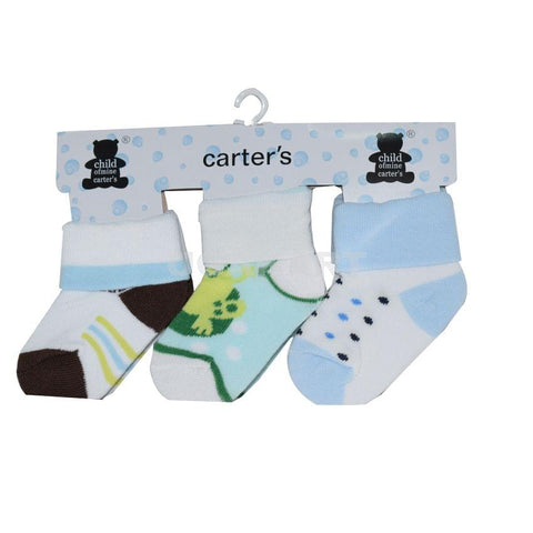 3 Pairs Of Blue And White Kids Socks