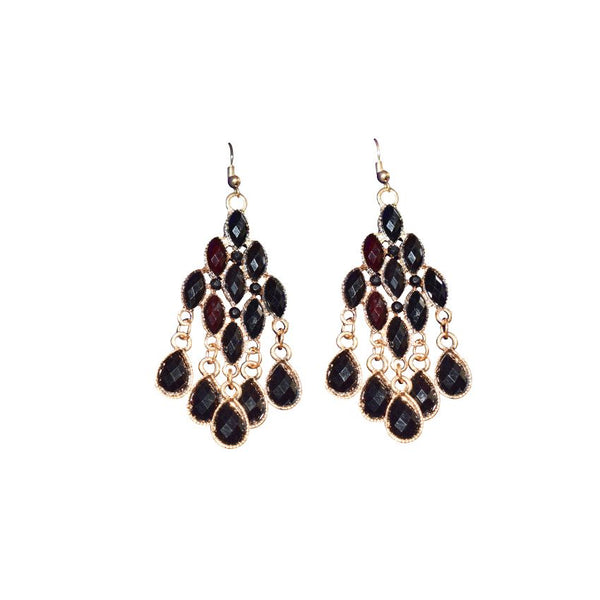 Earrings With Black And Brown Stones