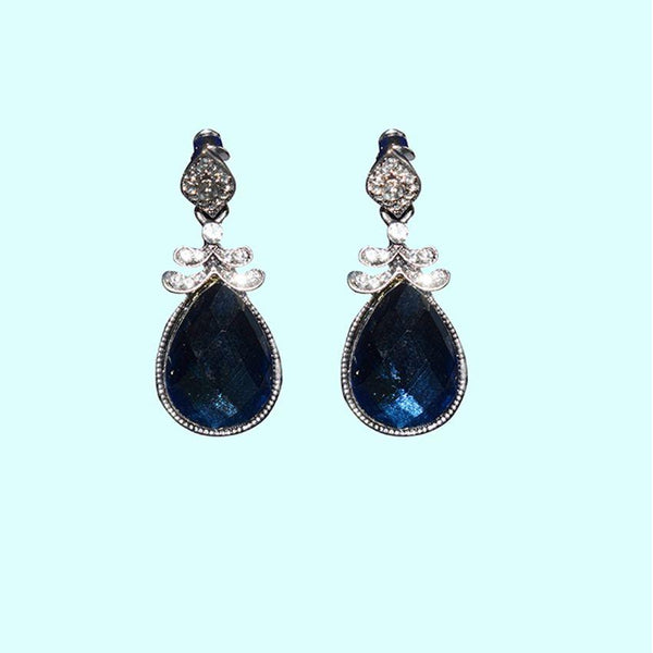 Earrings With Black And Silver Stones