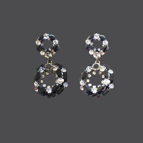 Black Earring With Silver Stones
