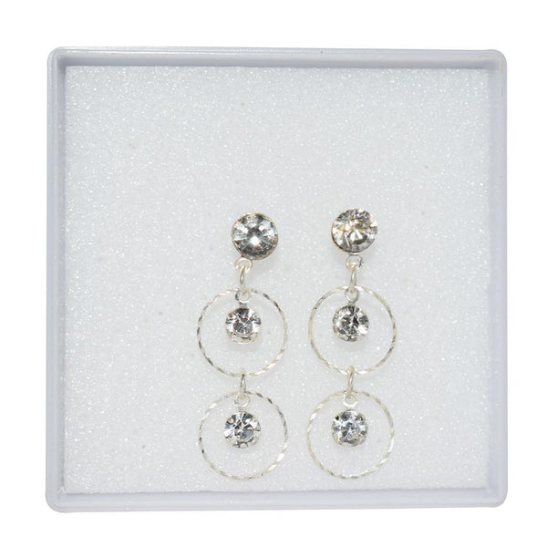 Dangler Silver Earring With White Stone