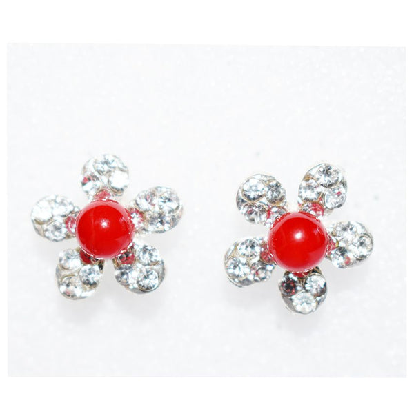 Earings With Red Ball And Diamond Stones