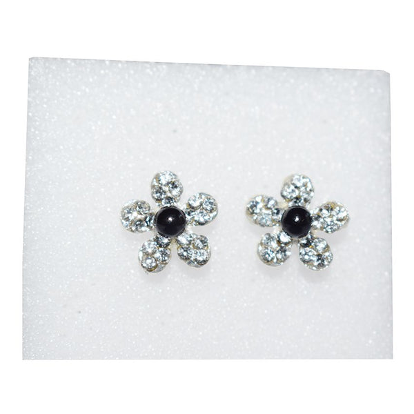 Flower Shape Earring With Black And White Stones