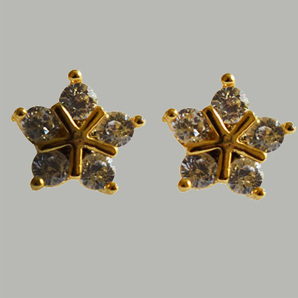 Golden Flower Earring With Gold Stone
