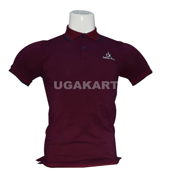 Ck Maroon T-Shirt With Collar