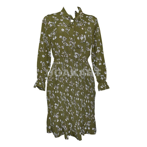 Army Green White Flower Ladies Dress