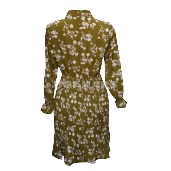 Army Green White Flower Ladies Dress (Free Size)
