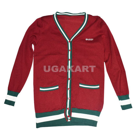 Gucci Red Sweater With Green And White Stripes