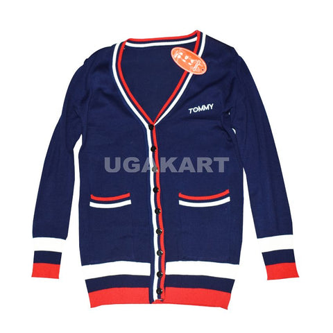 Tommy Navy Blue Sweater With Red And White  Stripes