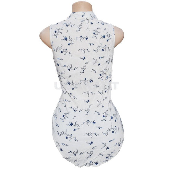 White Sleeveless Top With Blue Flowers