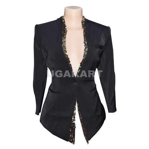 Black Single Button Ladies Coat