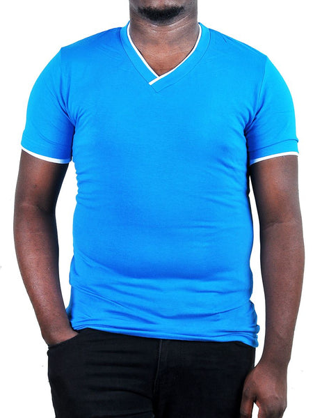 V- Neck Shaped Blue Men's T-Shirt