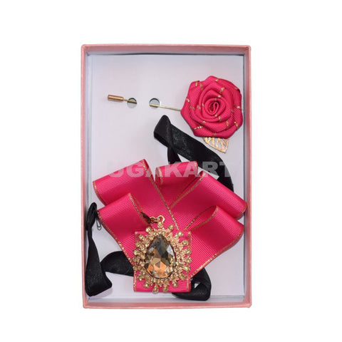 Pink Brooch Tie With Lapel Pin