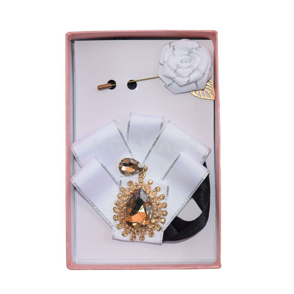 White Brooch Tie With White Lapel Pin