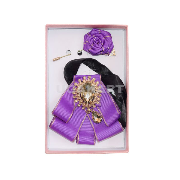Purple Brooch Tie With Lapel Pin