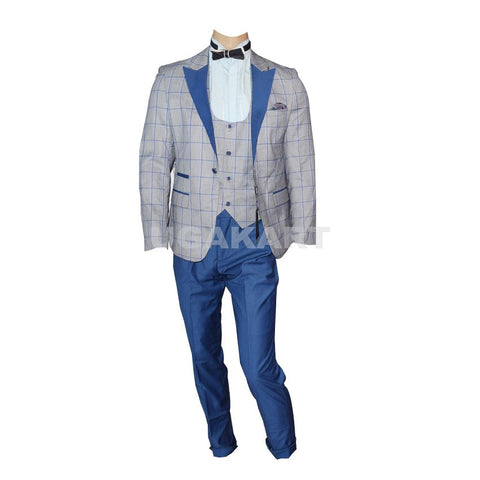 Grey And Blue Checked Coat With Waistcoat And Blue Trouser