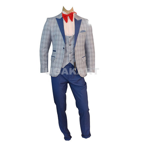 Grey Medium Checked Coat With Waistcoat And Blue Trouser