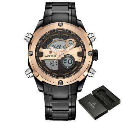 Naviforce Black Dail Light Gold Watch
