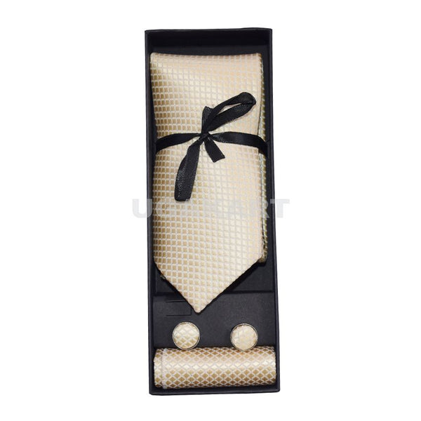 Cream Color Tie With Cufflinks