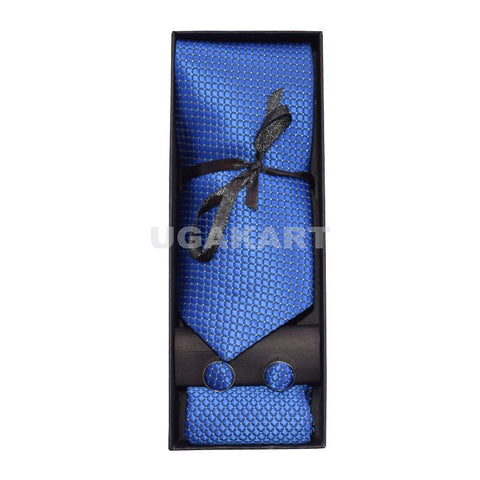 Dark Blue Tie With Cufflinks