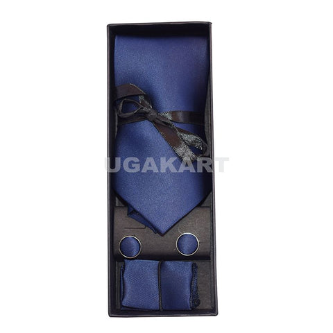 Plain Dark Blue Tie With Cufflinks