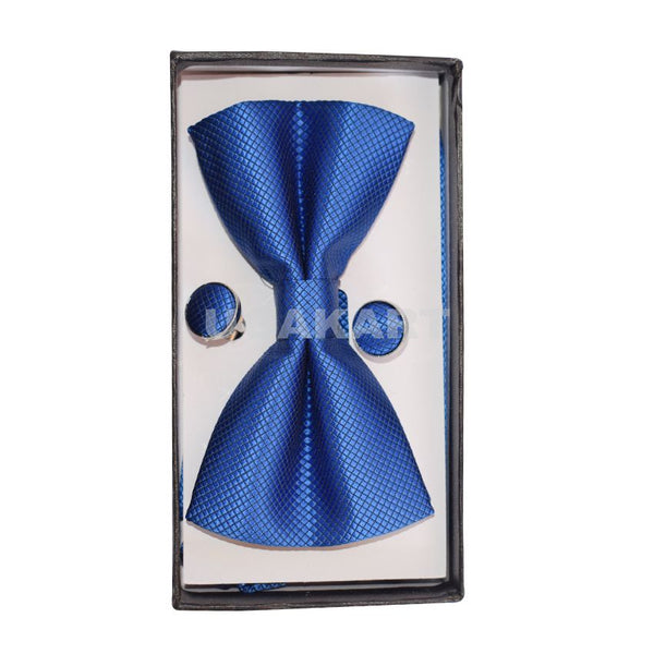 Blue Design Bow Tie With Cufflinks