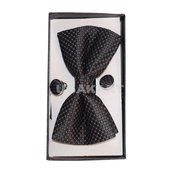 Black Design Bow Tie With Cufflinks