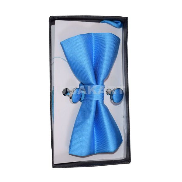 Blue Bow Tie With Cufflinks