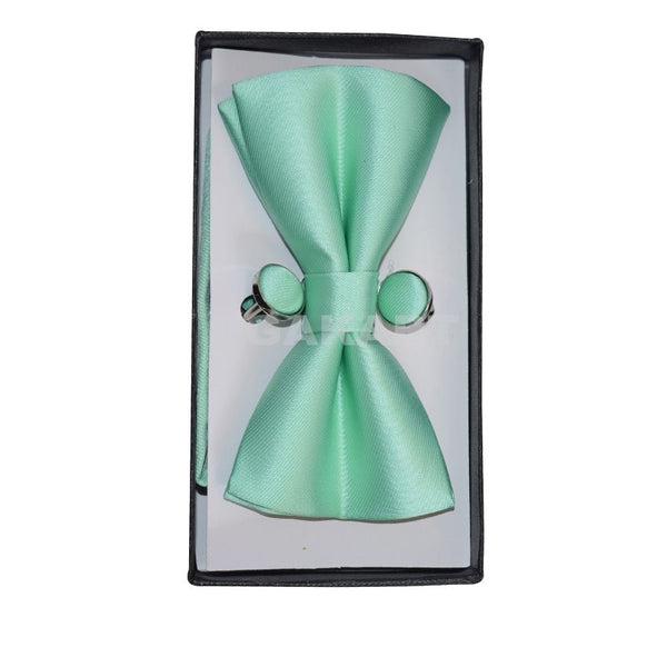 Light Green Bow Tie With Cufflinks
