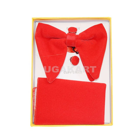 Red Bow Tie With Cufflinks