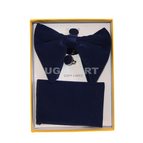 Dark Blue Bow Tie With Cufflinks