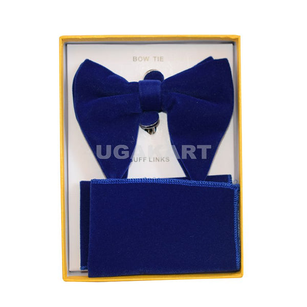 Navy Blue Bow Tie With Cufflinks