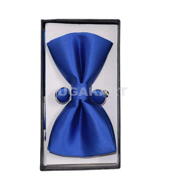 Blue Plain  Bow Tie With Cufflinks