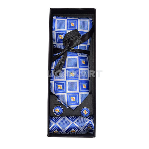 Blue And White Square Designer Tie With Cufflinks